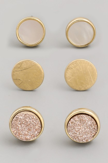 Druzy Stone Stud Earrings Set - orangeshine.com