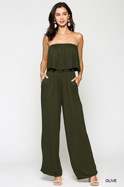 Off Shoulder Overlay Layer Jumpsuit - orangeshine.com
