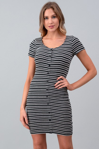 BUTTON DOWN STRIPE MINI DRESS - orangeshine.com