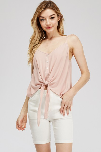 RAYON CAMI TOP WITH TIE FRONT DETAIL - orangeshine.com