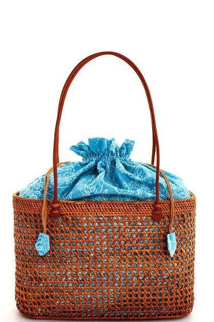 NATURAL STRAW WOVEN FASHION TOTE BAG - orangeshine.com