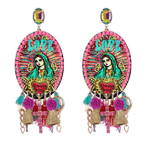Mother Mary crystal Tassel Earrings - orangeshine.com