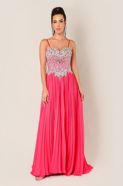 Long Pleated A-Line Bedazzled Dress - orangeshine.com