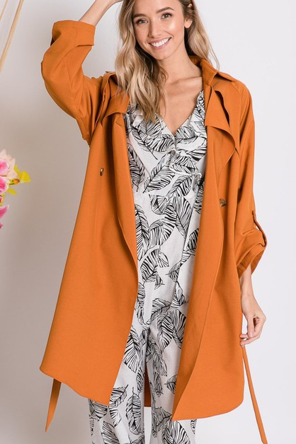 SOLID LAYERING TRENCH COAT - orangeshine.com