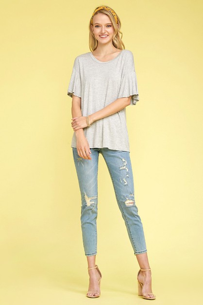 Knit Solid Short Slv Loose Fit Top - orangeshine.com