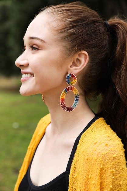 Raffia Hoop Statement Earrings - orangeshine.com