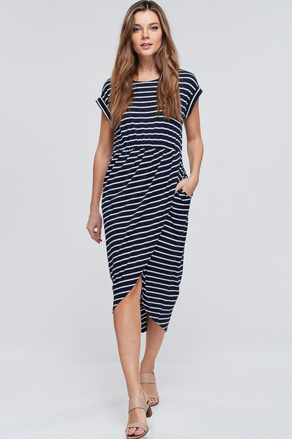 Striped Knit Dress With Pockets - orangeshine.com
