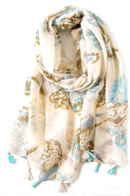 Boho Feather Print Scarf Shawl  - orangeshine.com