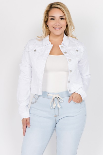 PLUS SIZE DISTRESSED DENIM JACKET  - orangeshine.com