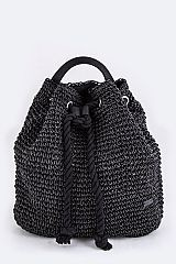 Straw Weave Drawstring Backpack - orangeshine.com