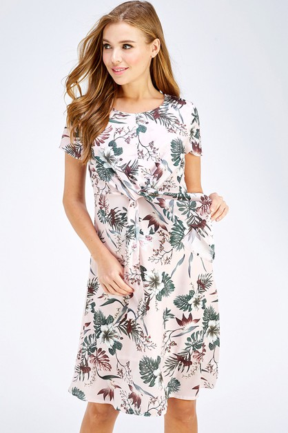 Tie Front Floral Print Dress - orangeshine.com