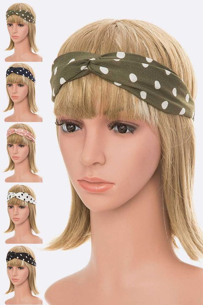 Polka Dot Print Soft Headband Set - orangeshine.com