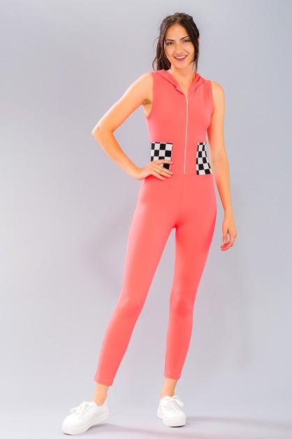 Checked Hoodie Bodycon Jumpsuit - orangeshine.com