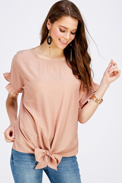 Tie Hem Ruffled Sleeve Top - orangeshine.com