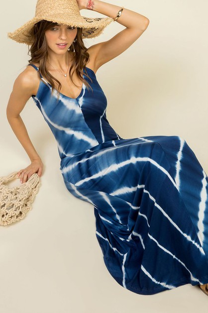 V Neck Tie Dye Printed Maxi Dress - orangeshine.com