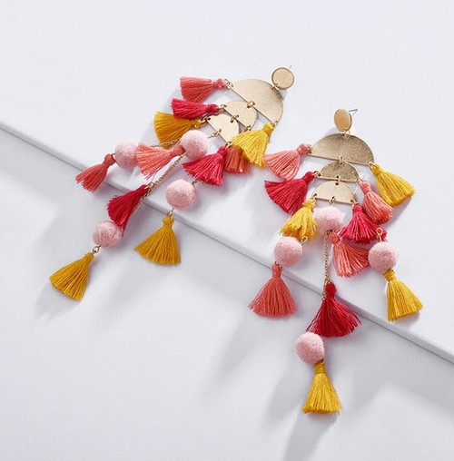 Multiple Tassels Long Drop Earring - orangeshine.com