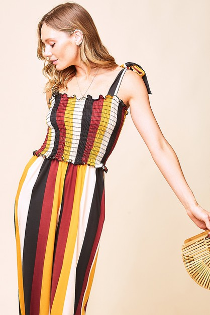 TIE SHOULDER STRIPED JUMPSUIT - orangeshine.com