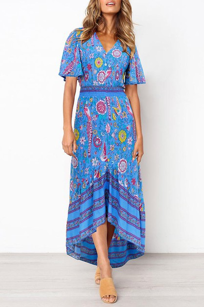 FLORAL V NECK MAXI DRESS - orangeshine.com