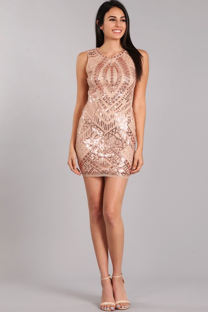 Sequin Textured Mini Dress - orangeshine.com