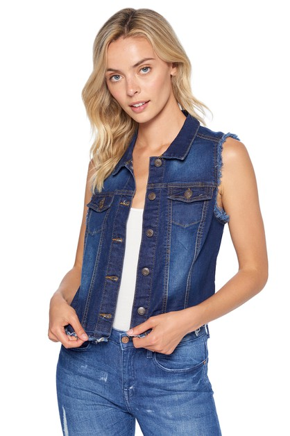 DENIM VEST FRAYED HEM WOMEN JEAN TOP - orangeshine.com