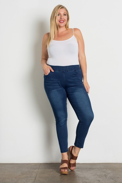 Plus Size High Waist Solid Jeggings - orangeshine.com