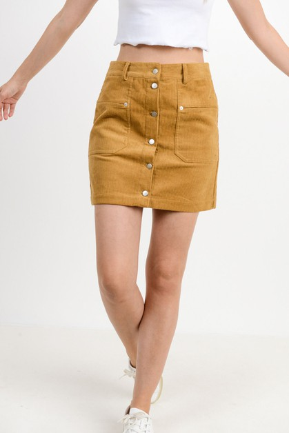 Corduroy Pocket Button Down Skirt - orangeshine.com