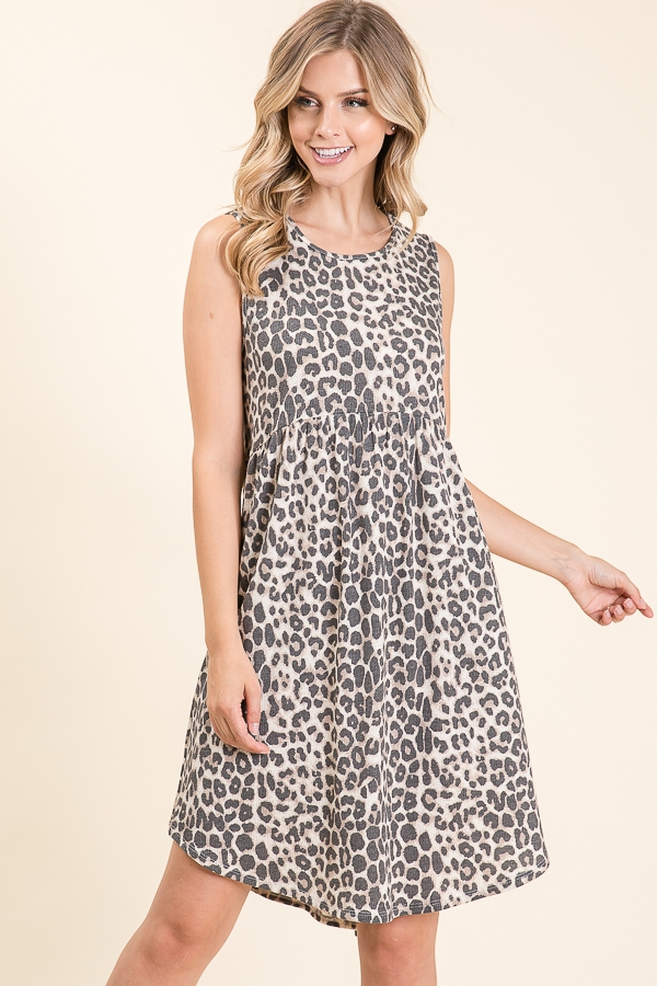 ANIMAL PRINT SLEEVELESS DRESS - orangeshine.com