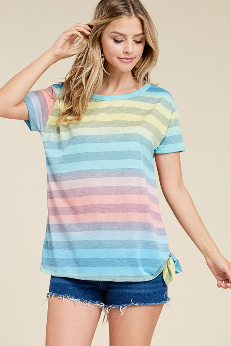 STRIPED SIDE TIE KNOT TOP - orangeshine.com