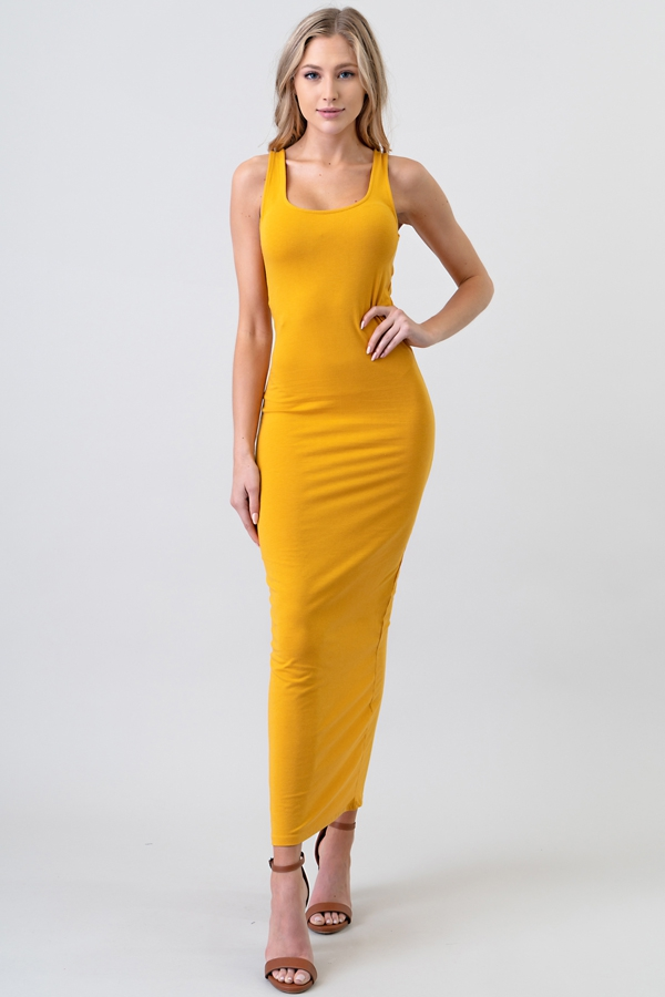 DOUBLE SCOOP BACK SLIT MAXI DRESS - orangeshine.com