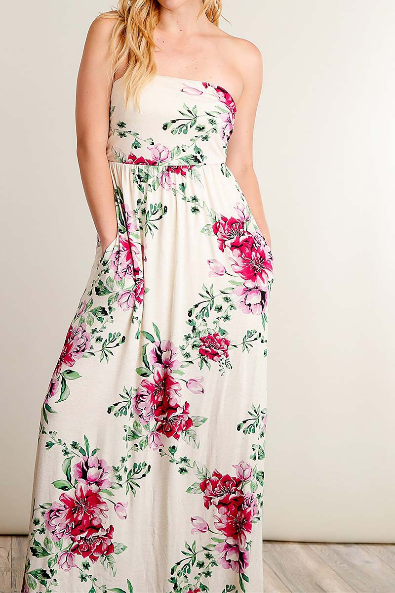 FLORAL PRINT OFF SHOULDER MAXI DRESS - orangeshine.com