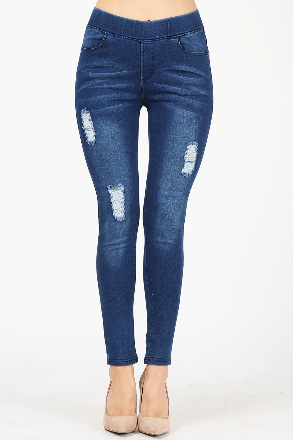 High Waist Distressed Denim Jeggings - orangeshine.com