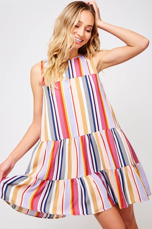 Multi-Color Stripe 2-Tier Mini Dress - orangeshine.com
