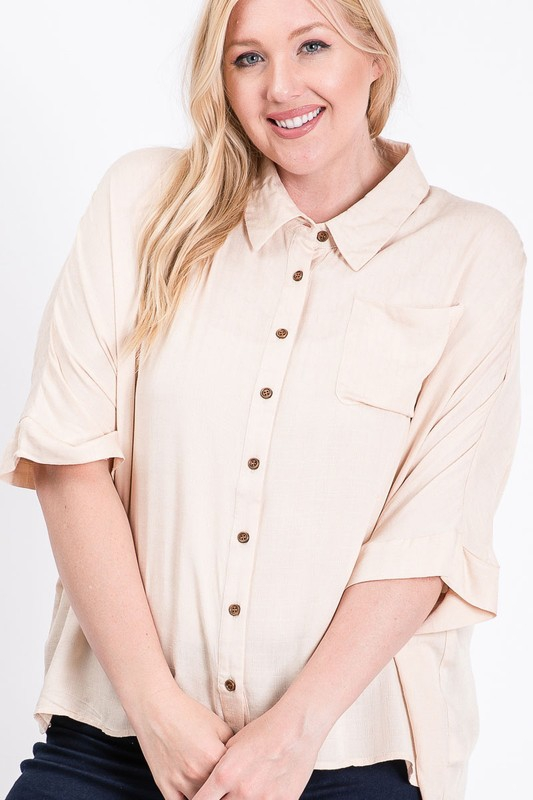TEXTURED BUTTON DOWN HIGH LOW TOP - orangeshine.com