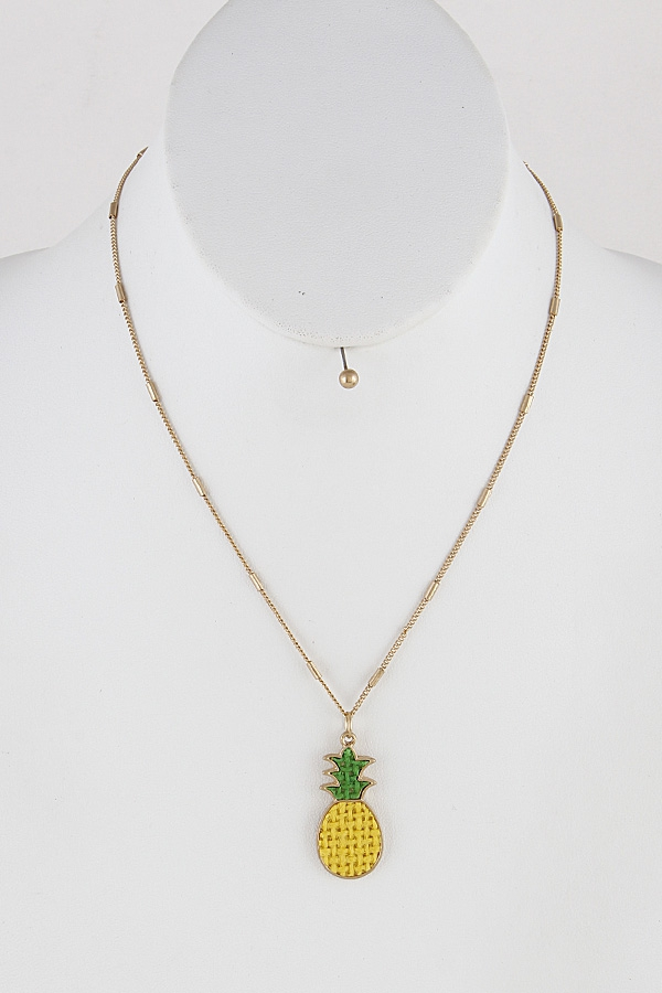 Embroidered Pineapple Necklace 9ECB8 - orangeshine.com