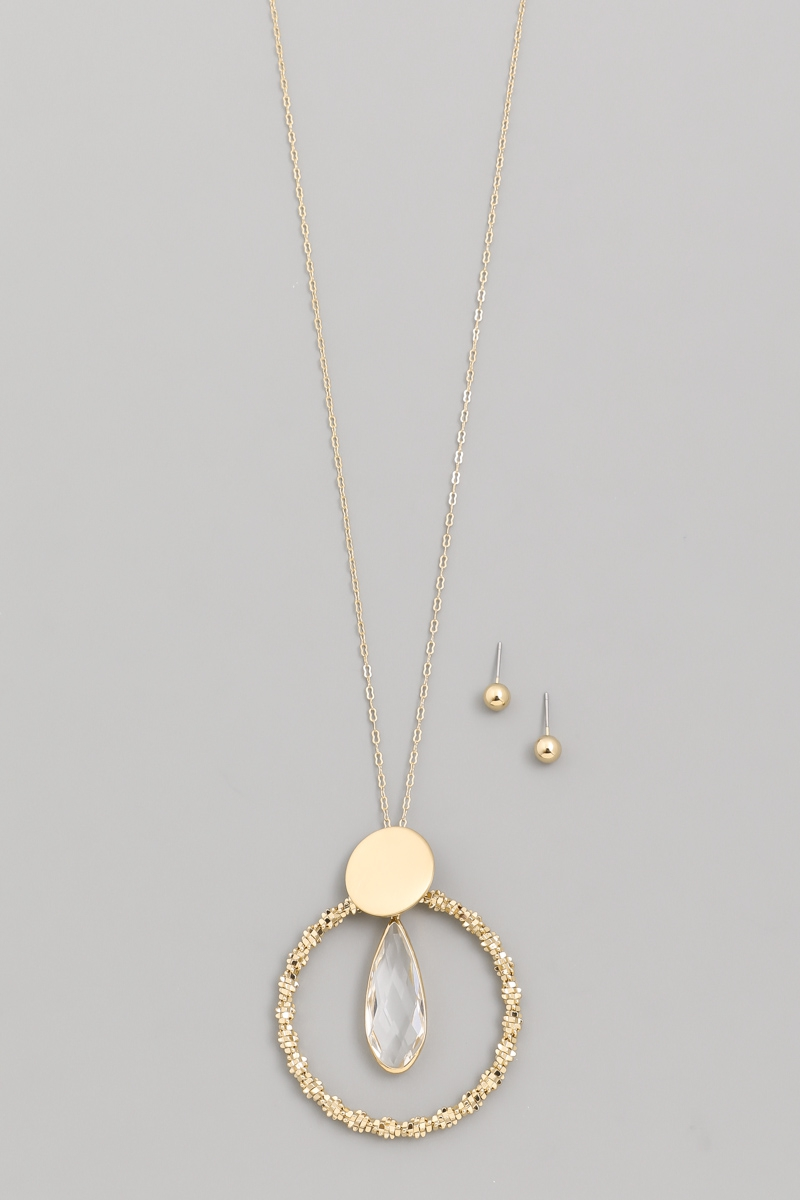 Circle Crystal Drop Necklace Set - orangeshine.com