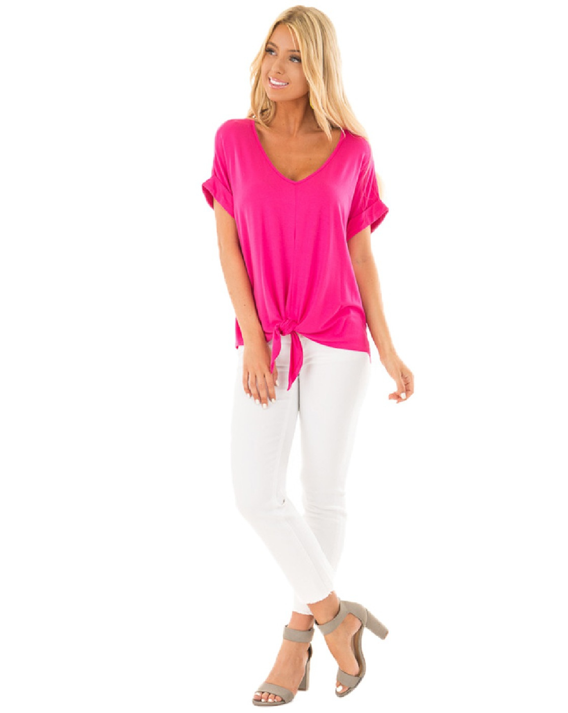 NEW V NECK SHORT SLEEVES TOP - orangeshine.com