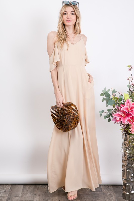 SOLID COLD-SHOULDER MAXI DRESS - orangeshine.com