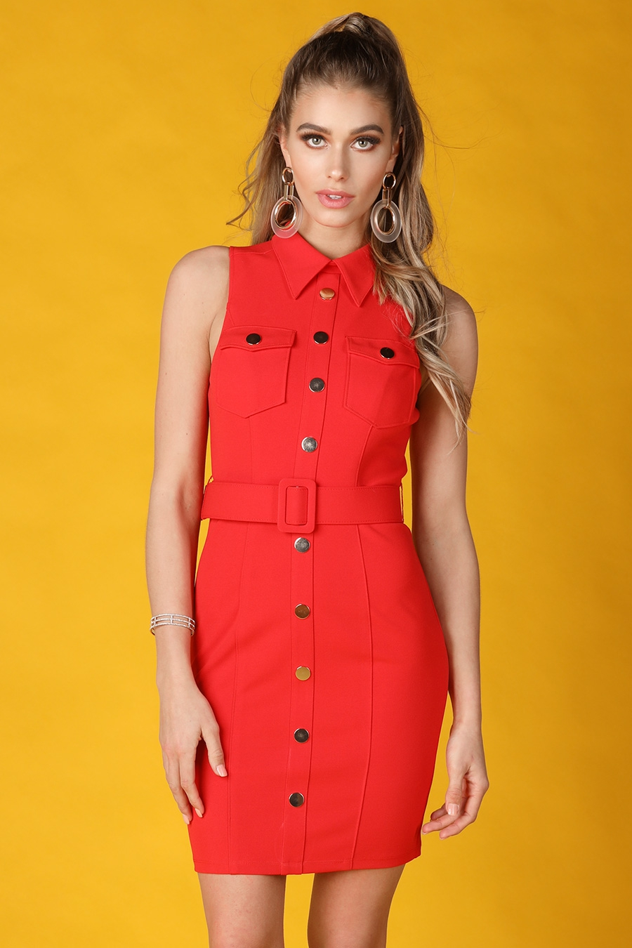 Belted Sleeveless Shirt Dress - orangeshine.com