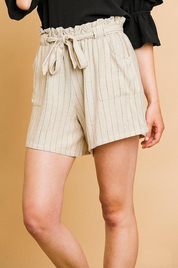 Pinstripe High Waist Paper Bag Short - orangeshine.com