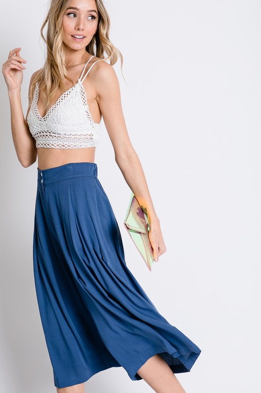 SOLID WIDE LEG HIGH-WAIST PANTS - orangeshine.com