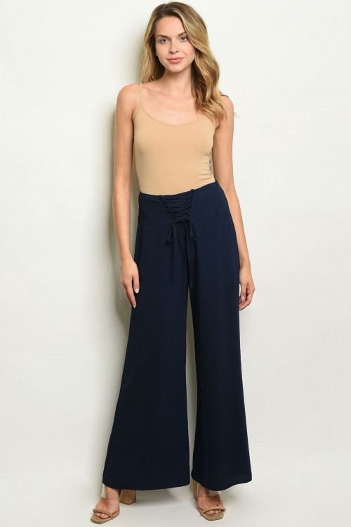 Lace up fitted waist wide leg pants - orangeshine.com