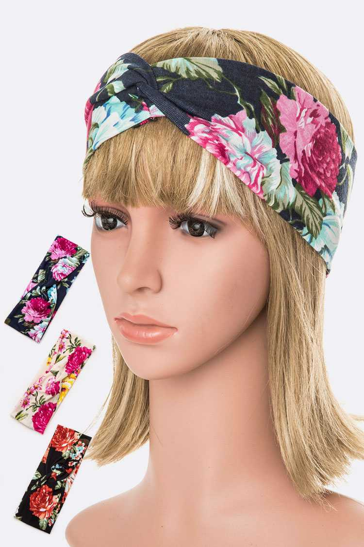 Mix Floral Print Headband Set - orangeshine.com