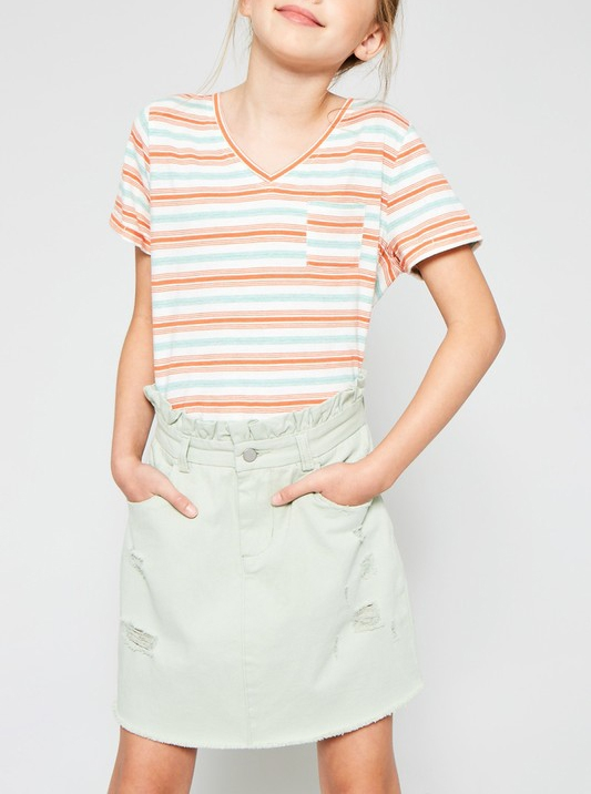 Distressed Paperbag Denim Skirt - orangeshine.com