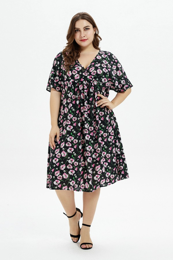 Plus Summer Floral Print Midi Dress - orangeshine.com