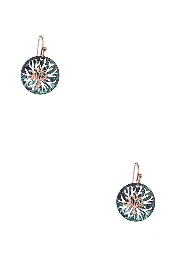 CORAL ACCENT ROUND DANGLE EARRING - orangeshine.com