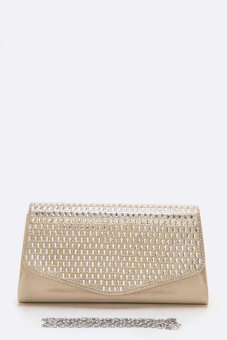 Crystal Flap Champagne Satin Clutch - orangeshine.com