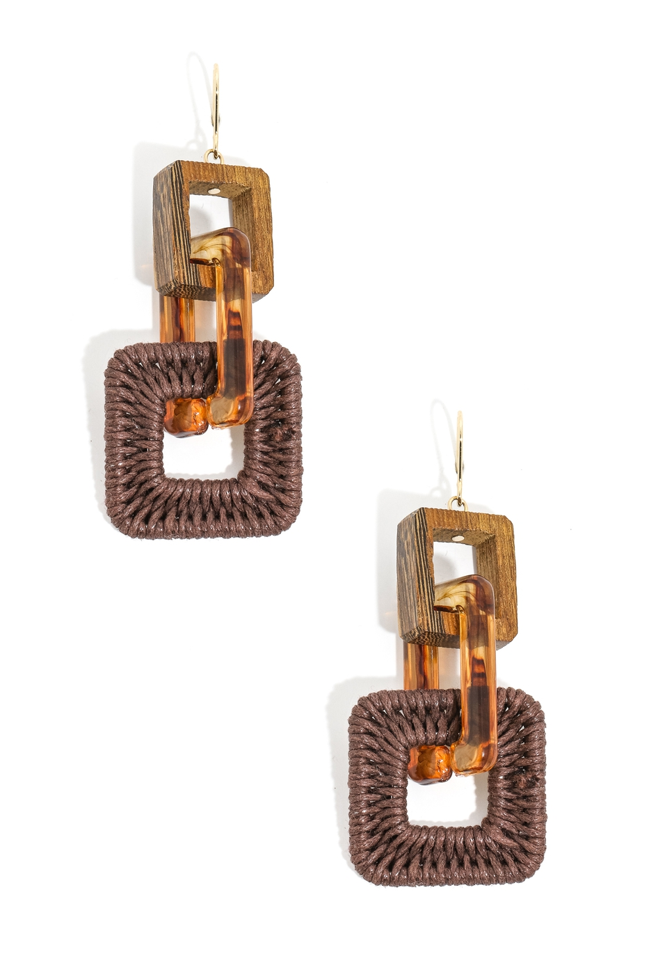 Braided Tiered Square Drop Earrings - orangeshine.com