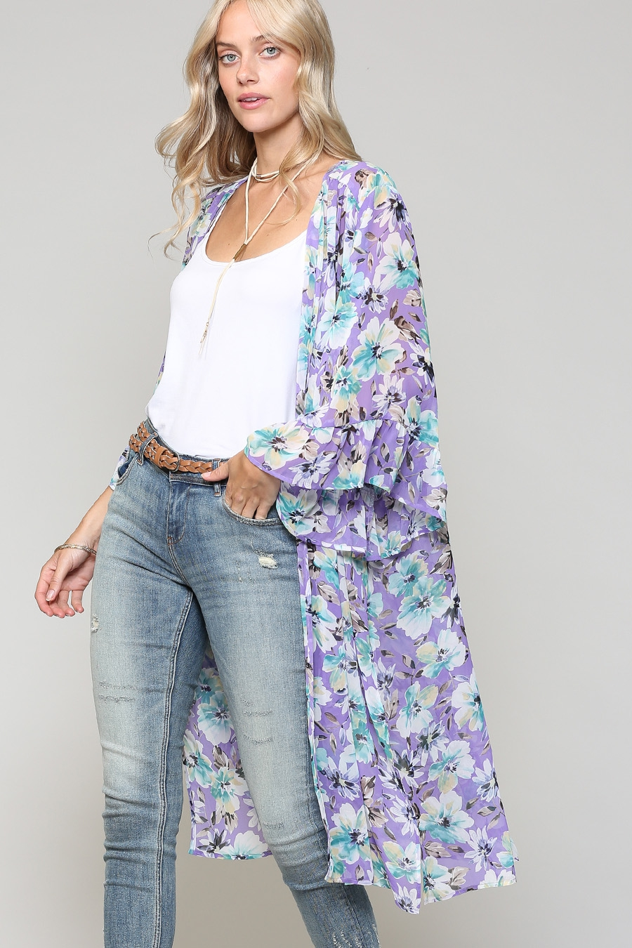 FLORAL SHEER LIGHT WEIGHT CARDIGAN - orangeshine.com