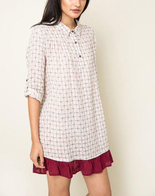 Grid Flannel Dress - orangeshine.com