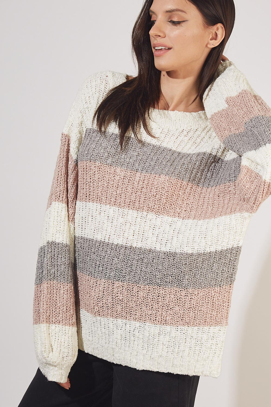 MULTI COLORED STRIPE SWEATER - orangeshine.com